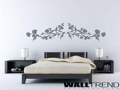W 0147 Rózsatövis lepkével faltetoválás - WALLtrend - faltetoválás, falmatrica, faldekoráció