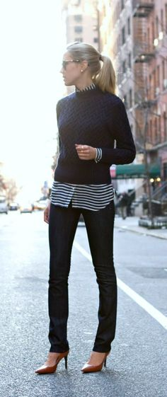 Winter Casual Fashion (5) - Love a pop of pattern underneath a sweater!