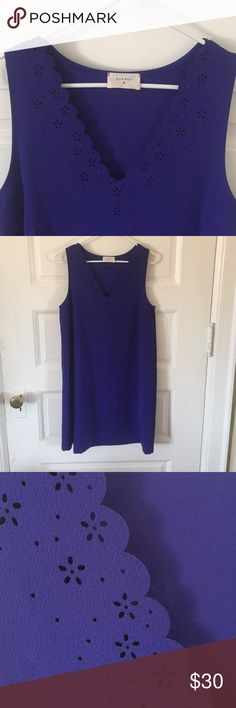 Everly Sleeveless Dress 👗 Never worn . Was purchased to wear to a wedding . Color is like a bright purple blue . Very vibrant :) cut out flowers along v neck line Everly Dresses