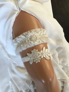 wedding garter set ivory tulle/ lace bridal garter by alarastore