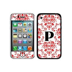 Graphics and More Protective Skin Sticker Case for iPhone 3G 3GS - Non-Retail Packaging - Letter P initial Damask Elegant Red, Black and White