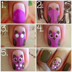 Holly Madison - owl nail art