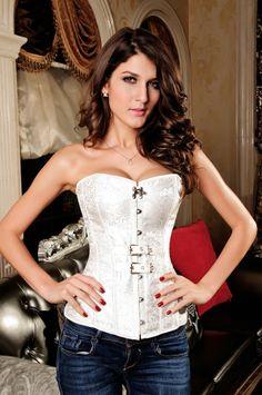 Luxurious Pteris Jacquard Corset White