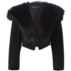 Comme Des Garçons Vintage Faux Fur Collar Jacket (59,940 PHP) ❤ liked on Polyvore featuring outerwear, jackets, black, long sleeve jacket, black long sleeve jacket, comme des garçons, cropped jacket and black jacket