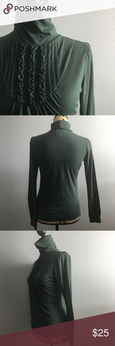 """Anthropologie Deletta Victorian Turtleneck Anthropologie Deletta Victorian Turtleneck Long Sleeve Top. Size Medium, Hunter Green, EUC, Smoke free home.  Measurements are approx.  Length: 22 1/2"""" Sleeve: 25"""" Chest: 34"""" Anthropologie Tops"""