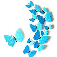 3D Schmetterlinge 12er Set Wandtattoo Wandsticker Wanddeko   Türkis