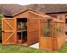 shed with adjoining greenhouse.  how to incorporate a playhouse too?