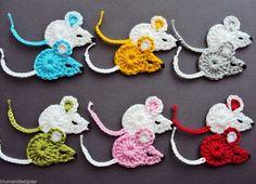 2 Mäuse,Häkelblumen,Applikation,Aufnäher,Häkelapplikation,Maus,Mäuschen,gehäkelt