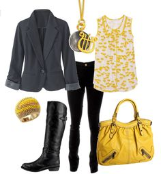 Gray jacket, yellow top, boots, jeggings