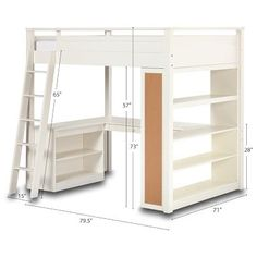 Full size loft bed with storage and desk for a building area. Comes in white, natural, espresso and black. Nice with the full bed option