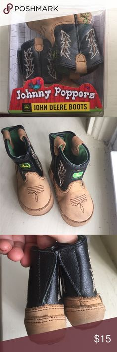 🦌 John Deere Boots 🦌 Size 2 Johnny Poppers real leather baby cowboy boots. Non slip soles Velcro back slip ons. Like new worn once for photos. Comes with original box! Shoes Boots