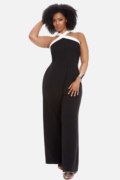 Plus Size Colby Color-Block Jumpsuit in Black - Fashion To Figure