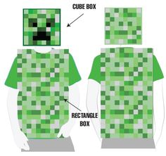 Minecraft Printable Costume Set - Sweet Anne Designs Note: I used the printables from this link to create a modified version of the Creeper costume, which took approximately 14 sheets of the printable green pattern, including one face sheet. Minecraft Creeper Halloween, Minecraft Costumes, Minecraft Birthday Party, Minecraft Mask, Steve Minecraft, Homemade Halloween, Halloween Crafts For Kids, Holidays Halloween, Halloween Decorations