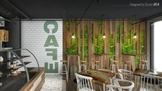 S Café – Bar design with green walls, curved wood, rough wood – Coffee shop design – Industrial Design Studio Coffee Shop Design, Cafe Design, Cafe Bar, Cafe Restaurant, Rough Wood, Curved Wood, Green Walls, Industrial Design, Branding