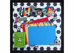 SOCCER GOAL Premade Memory Album Page (Gallery Wood Box Frame Sold Separately) by theshadowbox on Etsy