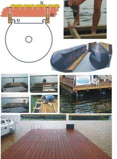 Floating solution, easy float polyethylen for construction platform, pontoon, dock. Prefab Cottages, Prefab Homes, Truck Bed Tent, Floating House, Floating Island, Hull Boat, Big Rig Trucks, Boat Stuff, Boat Building