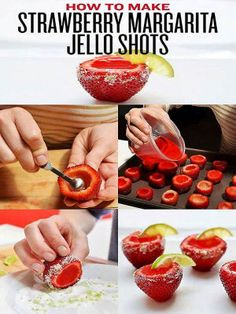 Strawberry Margarita Jello Shooters - make 'em with Sauza Blue Silver Tequila! #recipes #cocktails