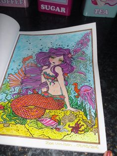 Book - Mermaids,Fairies and Other Girls Of Whimsey Artist - Hannah Lynn Media - Marco Raffine coloured pencils and Sakura gelly rolls