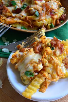 Drooling!  All of my favorites piled on a plate! Buffalo Chicken Bacon Cheese Fries