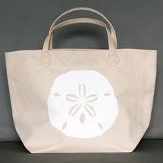 Dermond Peterson Sand Dollar White Canvas Bag   Coastal Style Gifts