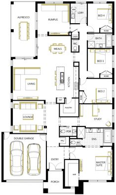 Contemporary Designed House Floorplan Photo - Matisse by Carlisle Homes Floor Plans 2 Story, Duplex Floor Plans, Modern Floor Plans, Farmhouse Floor Plans, Home Design Floor Plans, Plan Design, Design Ideas, 4 Bedroom House Plans, New House Plans