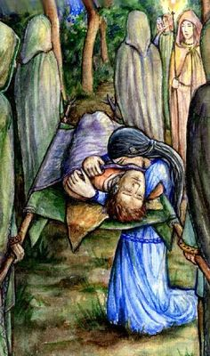 LÚTHIEN mourns for Beren (Natalia Nikitin) 'At the feet of Hirilorn the great beech Luthien met them walking slow, and some bore torches beside the bier. There she set her arms about Beren, and kissed him, bidding him await her beyond the Western Seas.' 'Of Beren and Luthien' from the Silmarillion by JRR Tolkien.