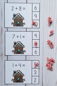 Gingerbread Addition Within 10 Clip Card Math Centers Addition Facts, Addition And Subtraction, Mastering Math, Fast Finishers, Kindergarten Activities, Preschool, Christmas Math, Matching Cards, Little Learners