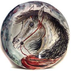 GIOVAN FRANCESCO GONZAGA CAVALLO DIPINTO SU PIATTO IN CERAMICA 52cm (1/100) ☲☲☲☲☲☲☲☲☲☲☲☲☲☲☲☲☲☲☲☲ HORSE ON CERAMIC PLATE