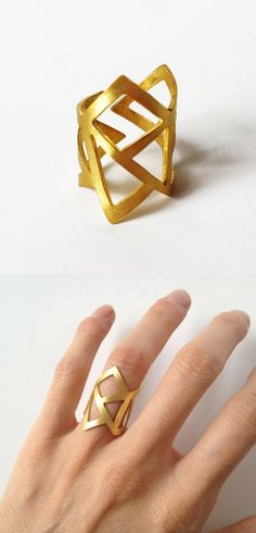 Gift for her handmade gold statement geometry ring - gold plated bronze ring - statement ring - adjustable minimalist ring Jewelry Box, Jewelry Rings, Unique Jewelry, Jewelry Accessories, Fashion Accessories, Fashion Jewelry, Jewelry Making, Gold Jewellery, Indian Jewelry