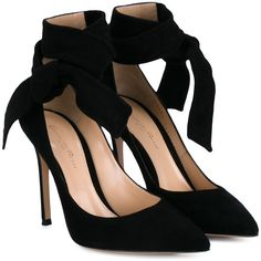 Gianvito Rossi Suede Heeled Sandals With Ankle Tie found on Polyvore featuring shoes, sandals, heels, pumps, gianvito rossi, sapatos, black, black ankle strap sandals, black stilettos and heeled sandals