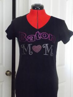 Baton Twirler Mom Tee in Adult Small thru Adult XXL Black with Pink or Red | eBay