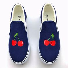 Blue Classic Canvas Shoes New Listed Discount Sales Rihanna Creepers Harajuku Women Hand Painted Board Shoes Fruit Pattern Gg