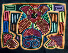 Kuna Indian Hand-Stitch Floral Flower Mola-Panama 16020938L