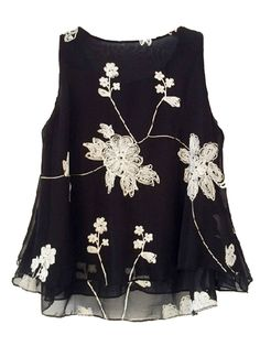Love! Love! Love! Black and White Floral Embroidered Sleeveless Blouse With Flounce Hem!