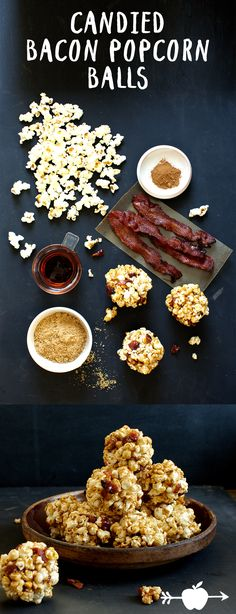 Ditch the candy bars and make this easy old-fashioned snack to hand out at Halloween. Crisp nuggets of candied bacon add a sweet-salty hit to every bite. | Applegate Natural & Organic Meats