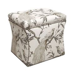 Skyline Ottoman: Custom Nail Button Storage Ottoman - Roberta Winter ($225) ❤ liked on Polyvore featuring home, furniture, ottomans, roberta winter, nailhead trim ottoman, antique footstool, hand made furniture, storage ottoman and colored furniture