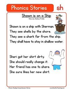 Using this Shawn is on a Ship SH Phonics Reading Comprehension Worksheet, students build their reading comprehension and phonics skills while reading words featuring SH. First Grade Reading Comprehension, Phonics Reading, Reading Comprehension Worksheets, Teaching Phonics, Phonics Worksheets, Phonics Activities, Teaching Reading, Phonics Chart, Preschool Phonics