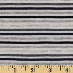 6$ Designer Rayon Jersey Knit Stripes Black/Grey/White