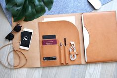 Organize your everyday carry with the sleek and stylish Leather MacBook Portfolio Cover by AO Businessentials.