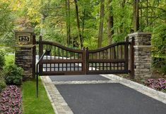 Mediterranean Style 2 - Fairfield County, CT mediterranean landscape - love this entrance gate and the stone lined driveway - House Designs Exterior Driveway Design, Driveway Landscaping, Landscaping Ideas, Farmhouse Landscaping, Acreage Landscaping, Front Gates, Entry Gates, Farm Entrance Gates, House Entrance