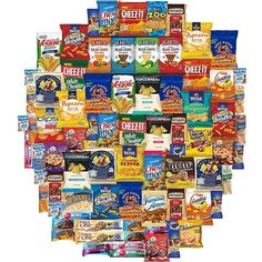 Ultimate Snacks Chips Cookies Candies Crackers More Care Package Variety Pack Includes Goldfish Snyders Chex Mix Cheez It Beanitos Popcorners Oreos Air Heads More Bulk Sampler (80 Count) featuring polyvore food