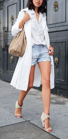 Wear a light duster coat this Spring as a coverup with your denim shorts.
