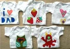3 custom onesies or tees from Oh Melisa! Selling Handmade Items, Handmade Clothes, Handmade Gifts, Applique Onesie, Baby Cartoon, Baby Socks, Selling Jewelry, Onesies, Pure Products