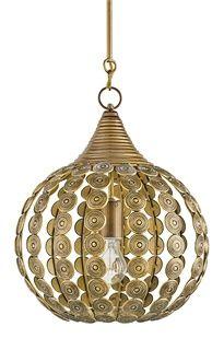 Indian inspired brass globe light fixture....