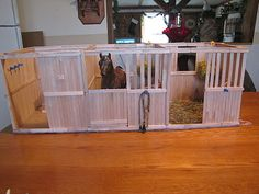 Popsicle stick home made model horse barn, HOW awesome!