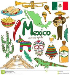 Chaoran Tablecloth Mexican Decorations Collection Fun Colorful Sketch Mexico Chili Pyramid Nachos Cactus Music Poncho Image Green Olive Mustard Holiday Home Decorative World Thinking Day, Arte Popular, Geography For Kids, Teaching Geography, World Geography, Travel Posters, Mexico Country, Travel Doodles, Drawing Pictures