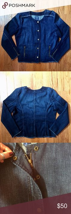 Lucky Brand Denim Jacket Lucky Brand Denim collarless jacket with button-hide zip closure. Has dart seams to bust and fitted back for an effortless, non-boxy feminine look. Has two zip-up body pockets and zippers on the sleeves for convertible cuffing! Raw-edge detailing gives a little something special! Never worn and in amazing condition!!! Lucky Brand Jackets & Coats Jean Jackets