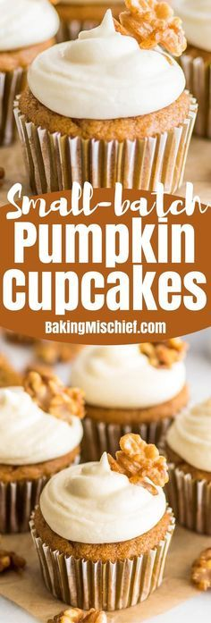 Small-batch Pumpkin Cupcakes with Cream Cheese Frosting are easy to make and one of my favorite fall desserts! Small-batch Cupcakes | #FallDesserts | #Dessertfortwo |