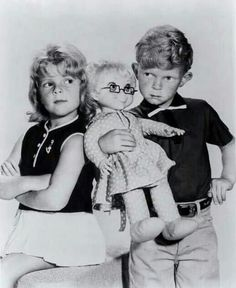 Jody (Johnny Whitaker) and Buffy (Anissa Jones) anr Mrs. Beasly from Family Affair