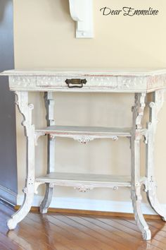 Dear Emmeline: Linen End Table {My first project with Miss Mustard Seed's Milk Paint}